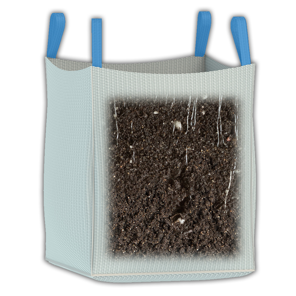 1000 kg cubic yard bulk bag for transporting and storing a cubic yard of topsoil, dirt, and more.