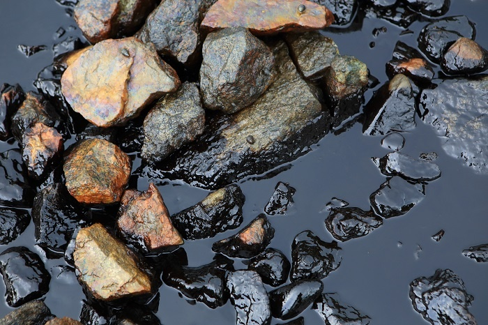 Contaminated shore line from oil spill.