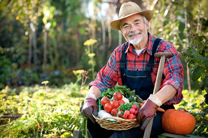 A retired gardener proudly displays his tomatoes and pumpkins.
