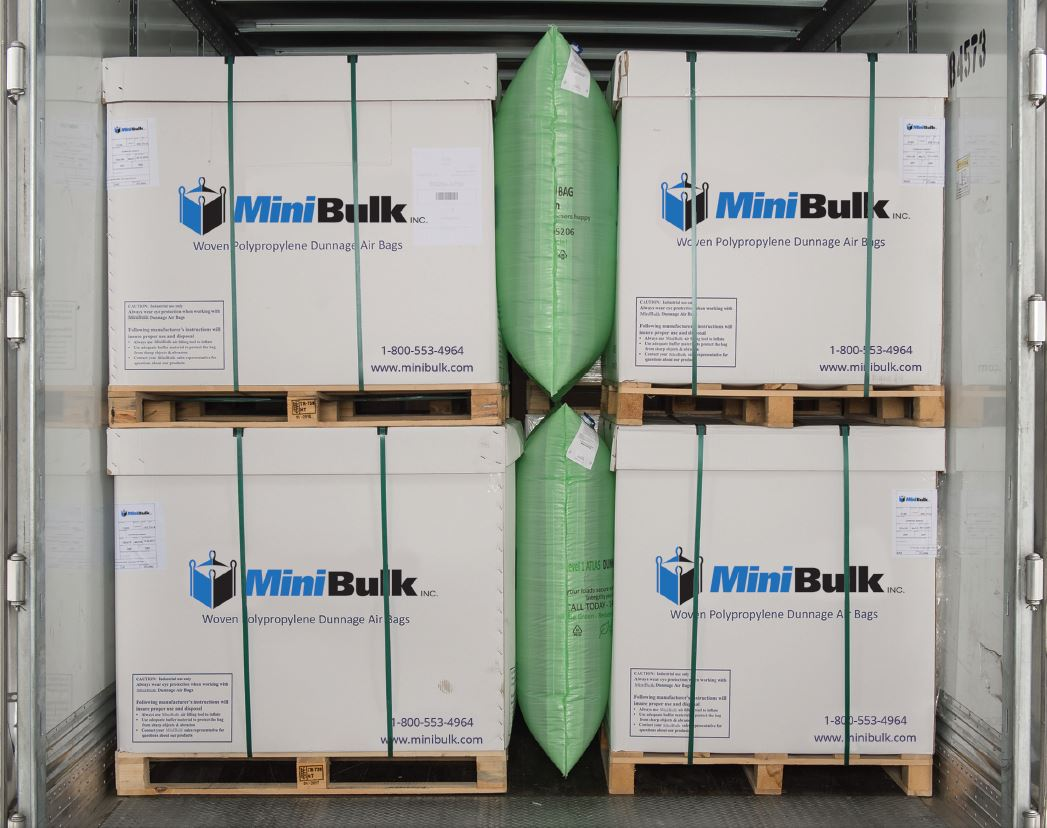 MiniBulk product safely secured for transportation, in a freight carrier, with air dunnage bags