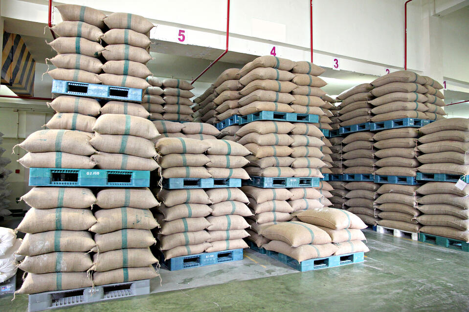 polypropylene woven backs stacked in warehouse for agriculture