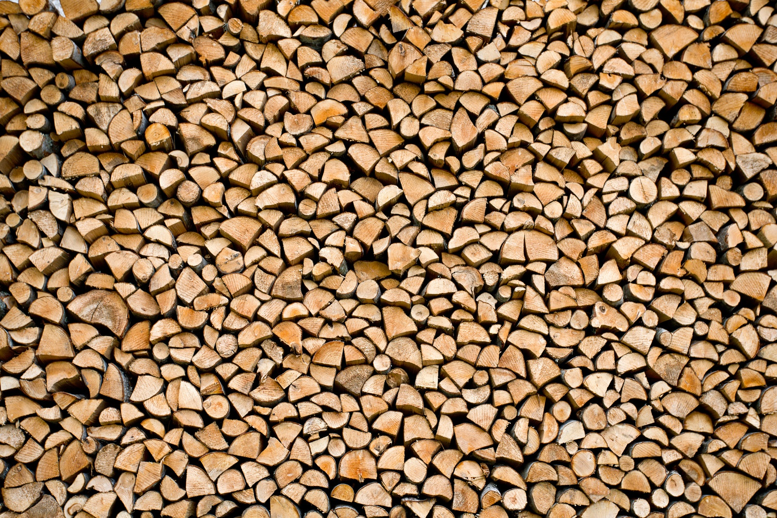 Chopped and stacked firewood